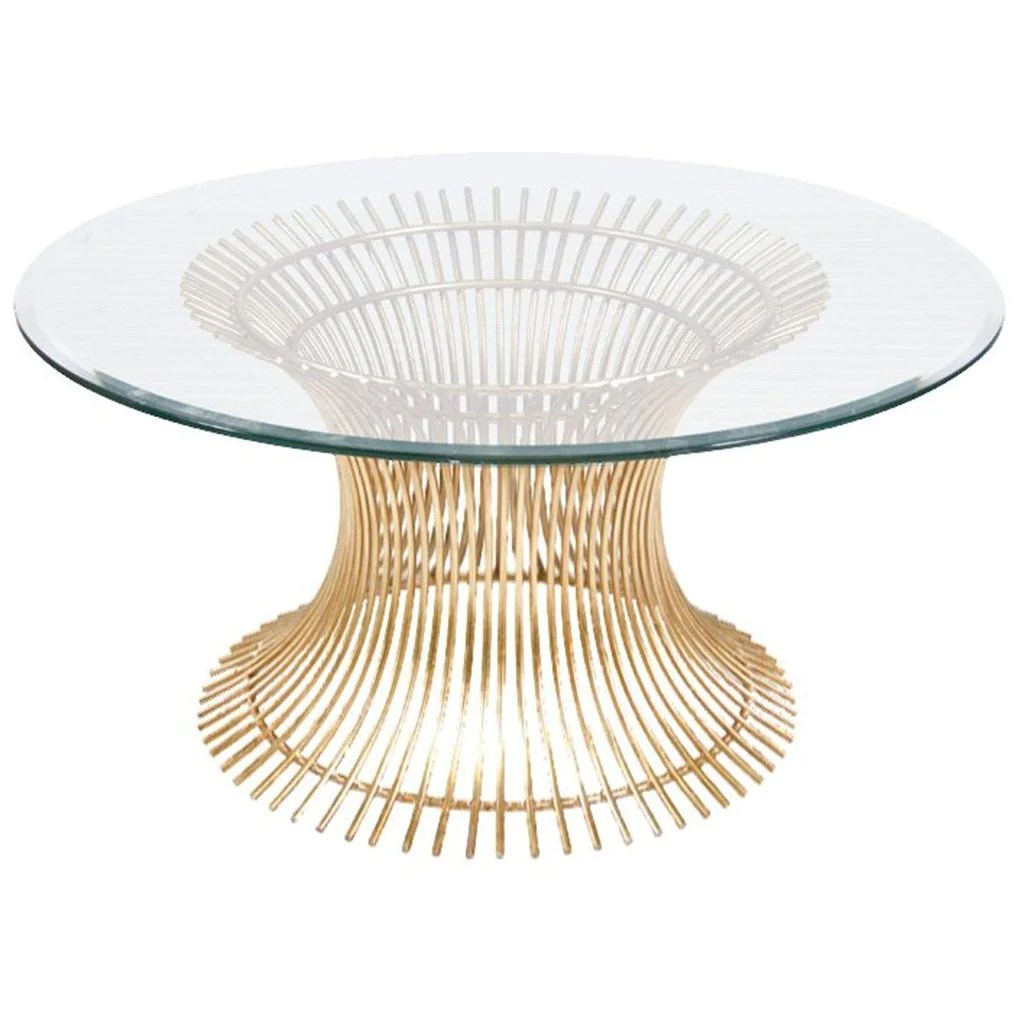 powell round glass coffee table