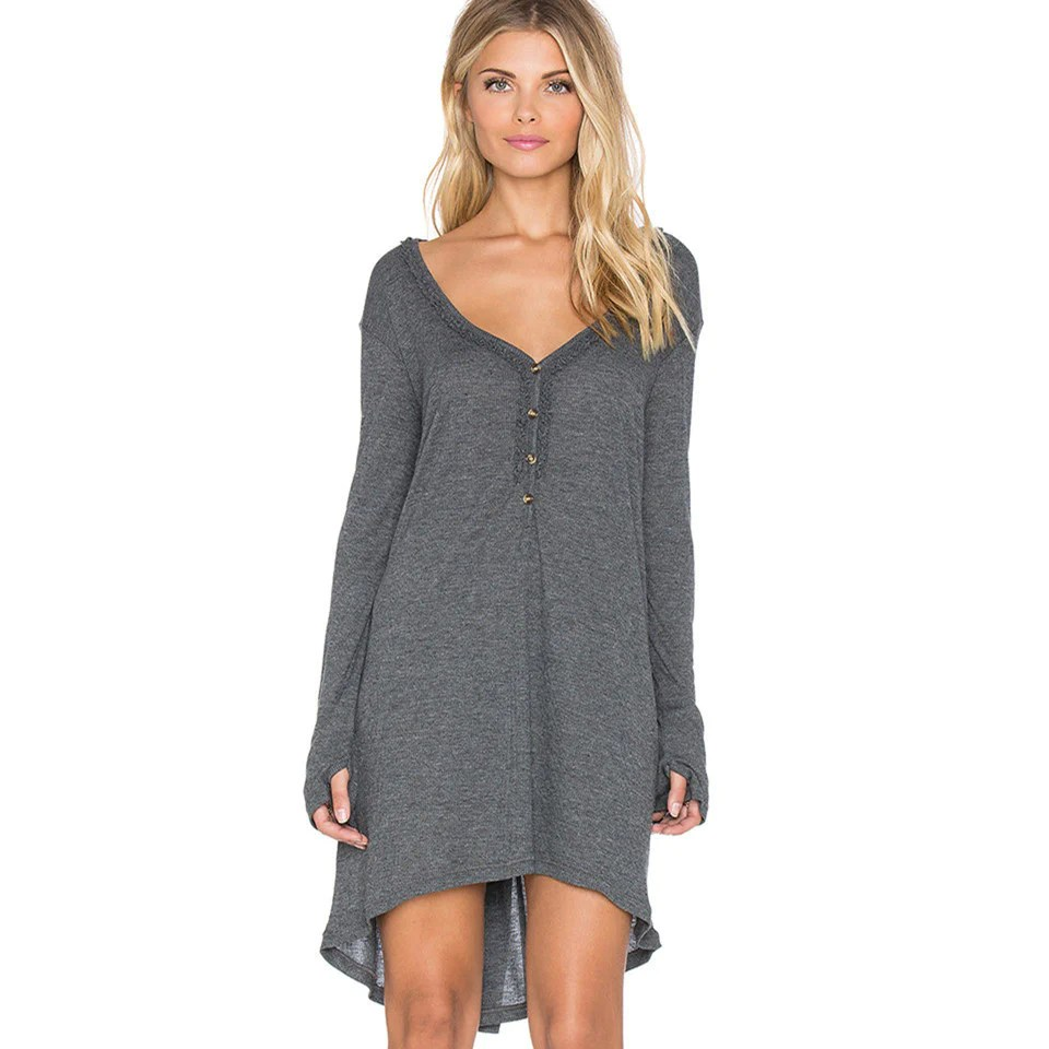 Dresses for Women with Long Sleeves Button