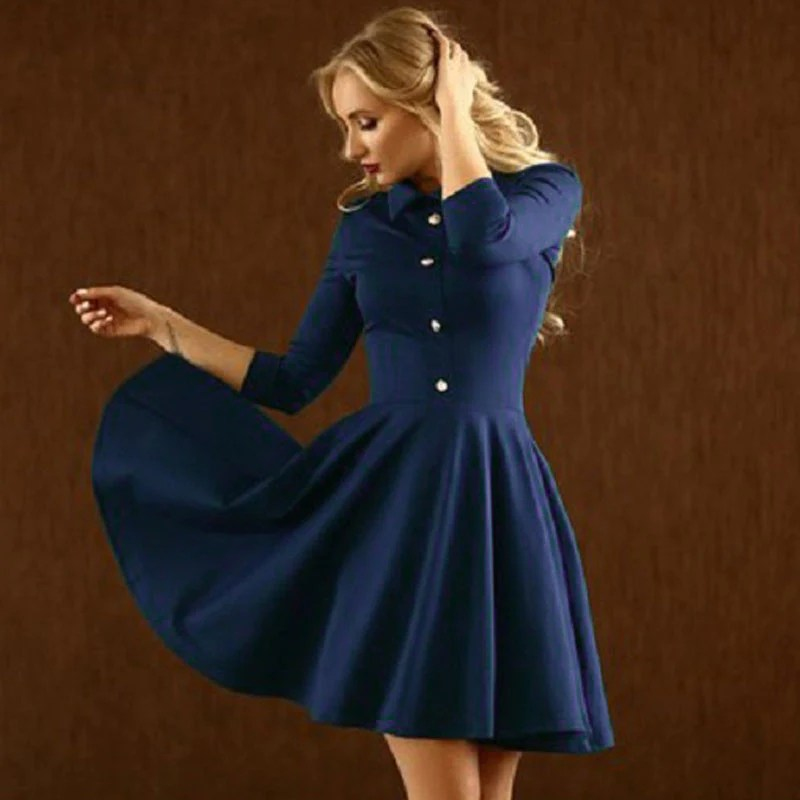 Autumn Dress Women 2016 3 4 Sleeve Pleated Elegant
