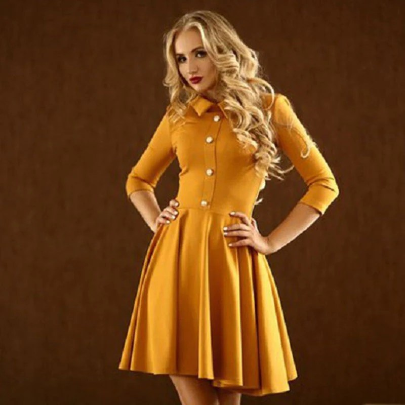 Pleated Dresses with 3 4 Sleeves