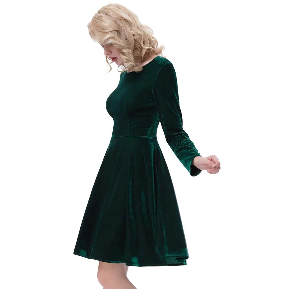 Long Sleeve Green Velvet Dress