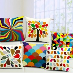 Sofa Box Cushion Covers Reupholster Sofas Manchester Geometry Linen Square Cover Printed Colorful Rainbow Decorative Pillow Case