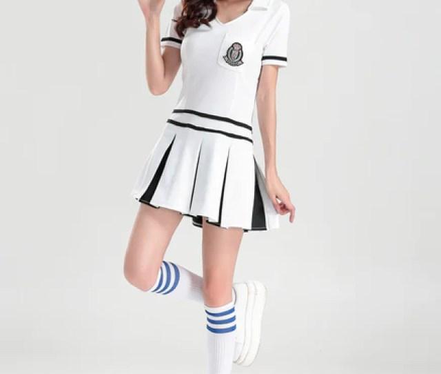 2017 New Sexy Women School Girls Musica Cheerleader Dress High School Cheering Cheerleading Costume Party Outfit