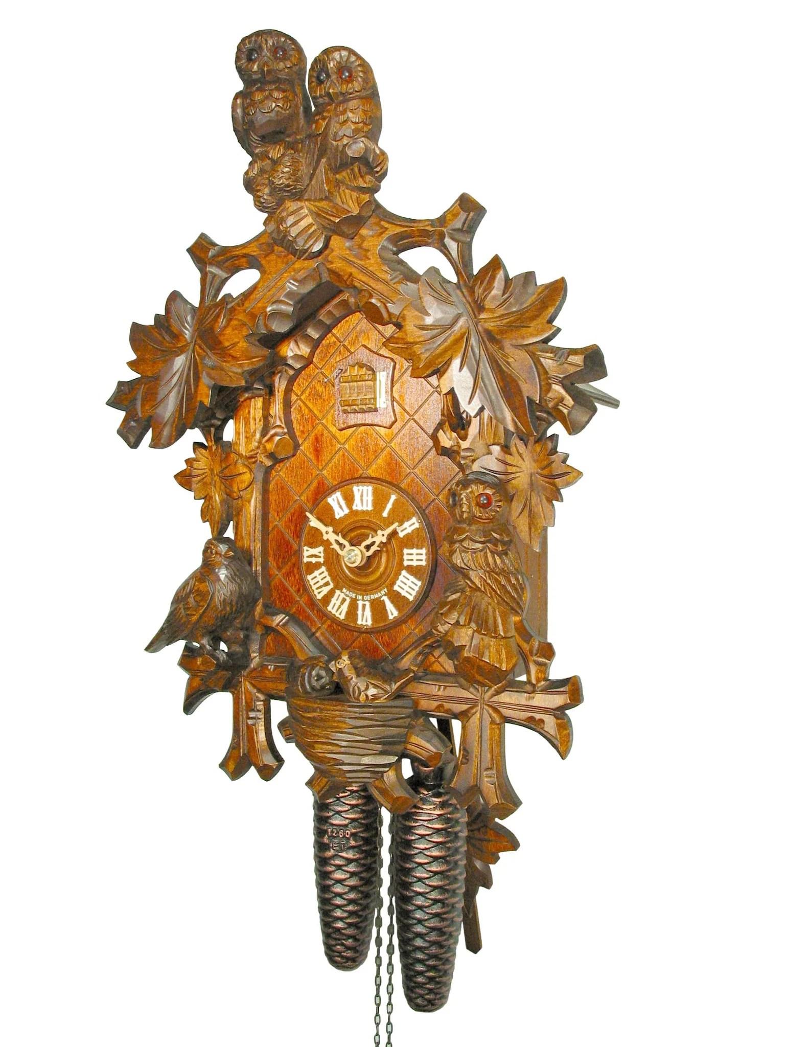 Carved 8-day Owl Cuckoo Clock 41cm August Schwer
