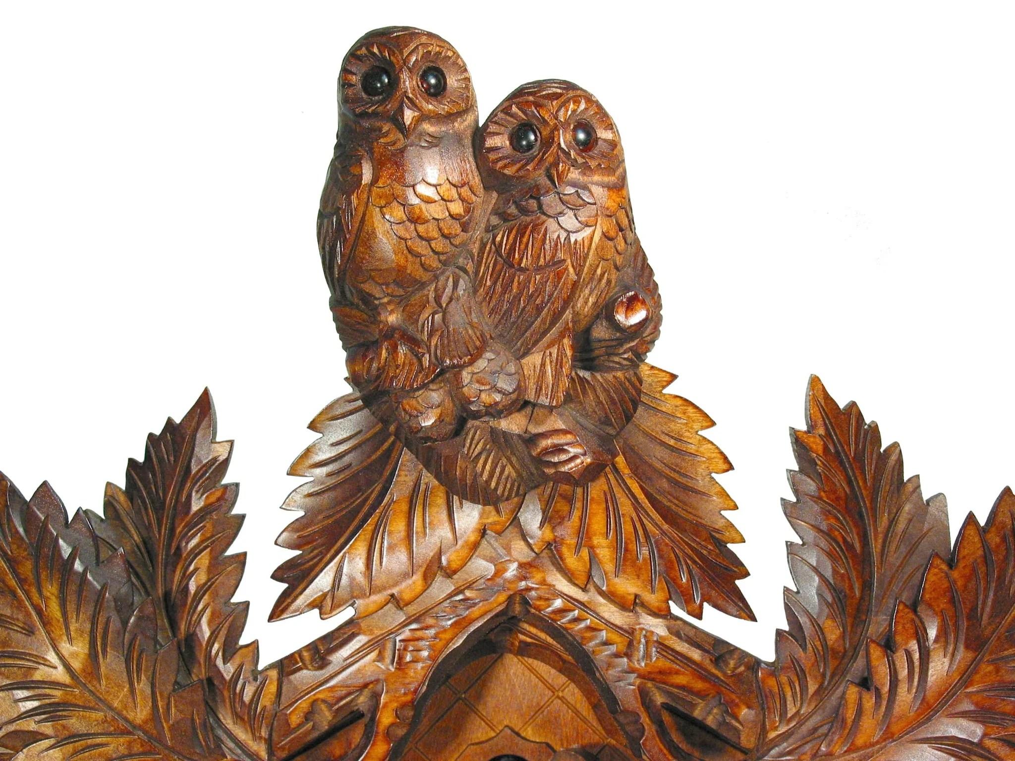 Carved 8-day Owl Cuckoo Clock 54cm August Schwer