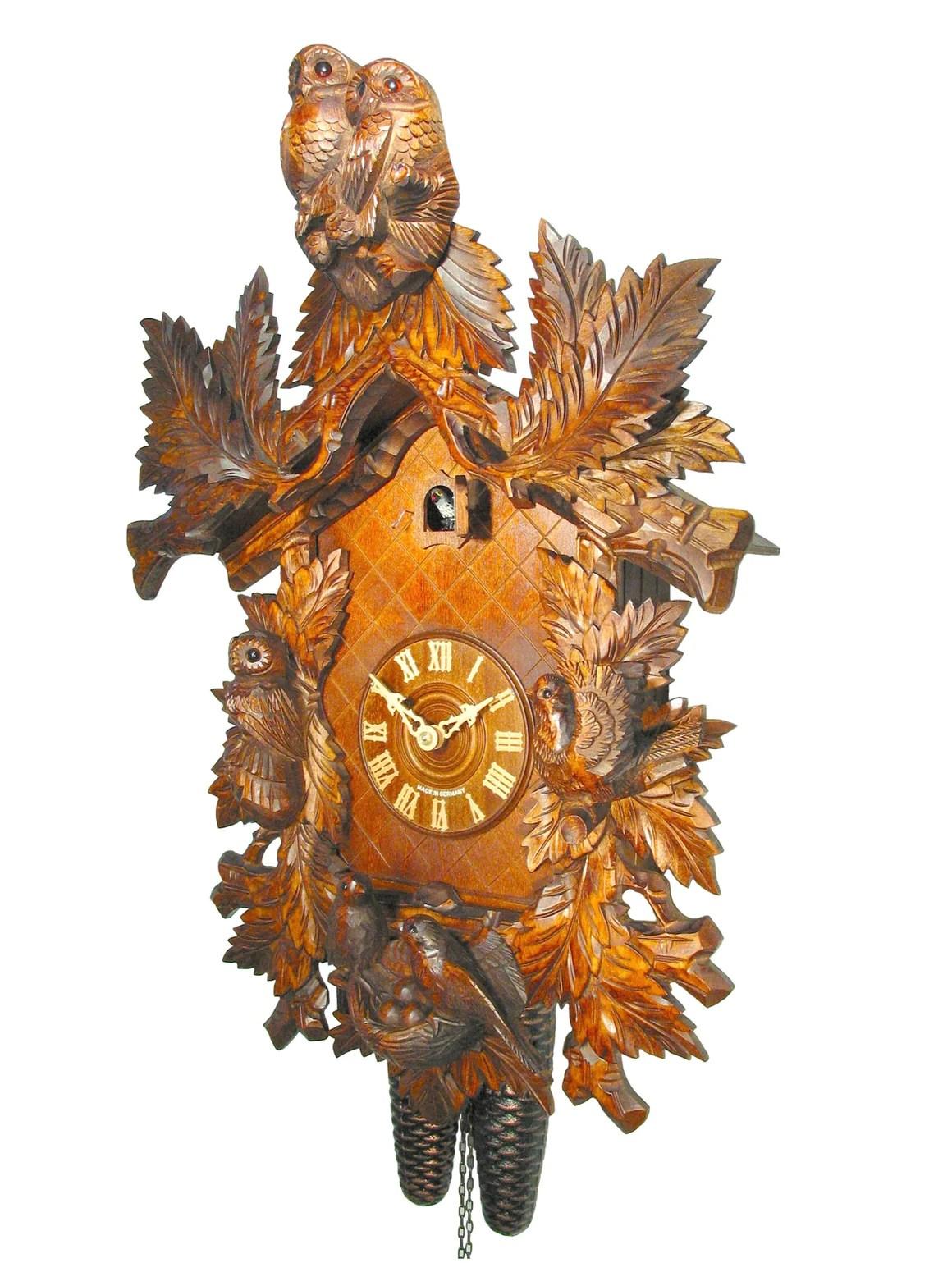 August Schwer Cuckoo Clock with Owls