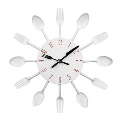Kitchen Clocks Glass Tile Backsplash Cutlery Design Wall Clock Metal Colorful Knife Fork Spoon Creative Modern Home Decor Antique