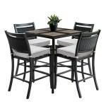 Oakland Living Wood Style Aluminum And Porcelain Brown Grey Beige Square Bar Table Pub Set