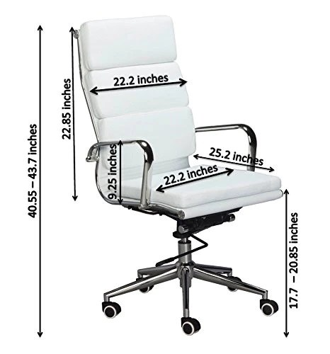 executive revolving chair specifications office design ergonomic eames replica white pu leather high back cusion us vegan classic padded desk