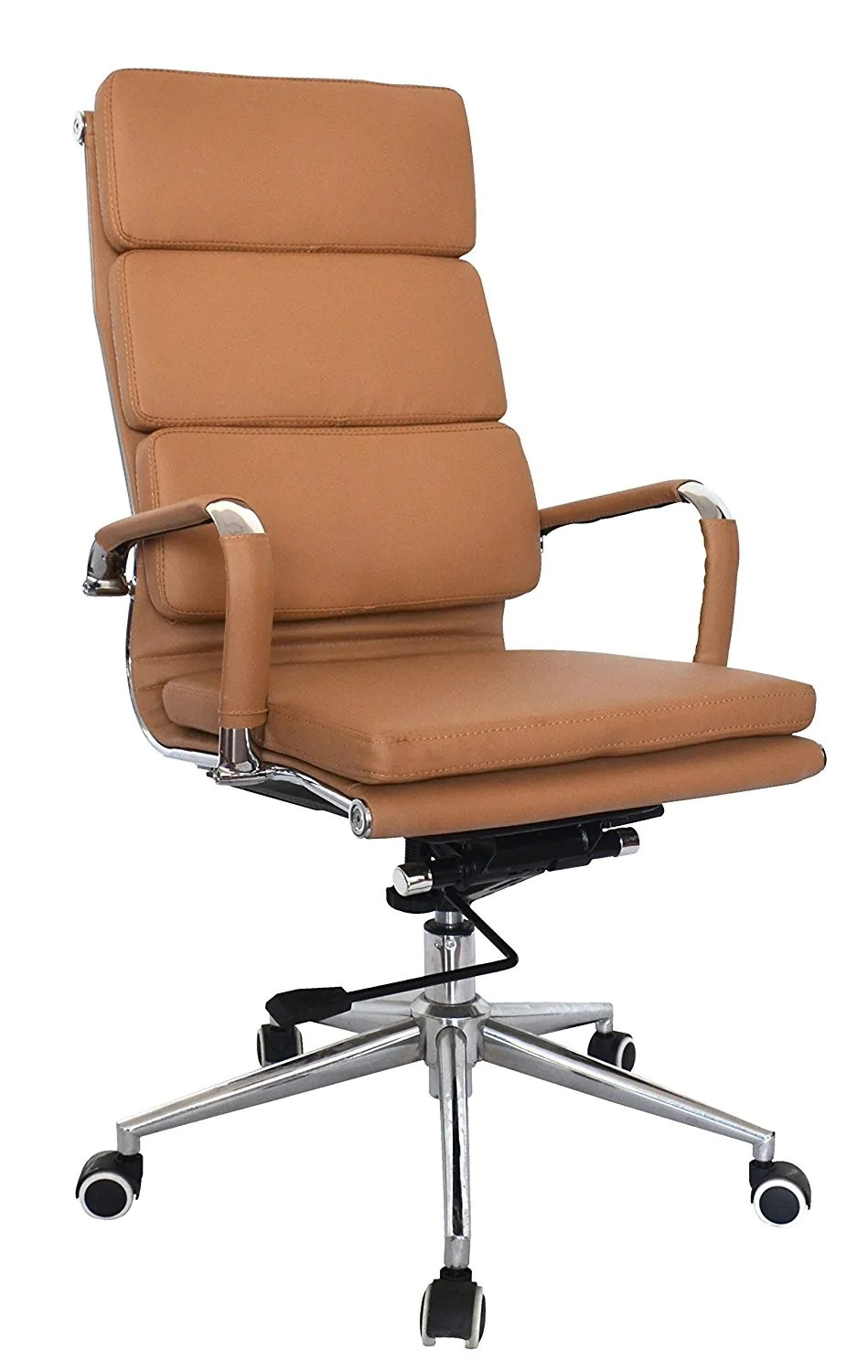 office desk chairs threshold patio camel vegan leather executive classic padded high back chair us elements