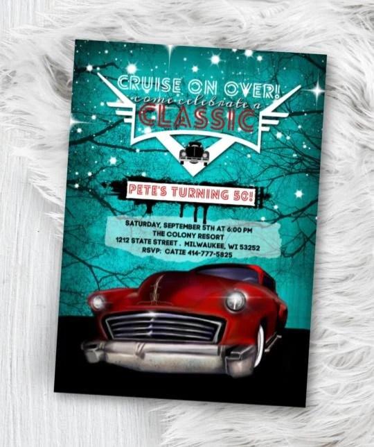 classic car birthday invitation hot rod birthday invitation mens rockabilly low rider 50 s themed 40th 50th 60th 80th 70th party invite