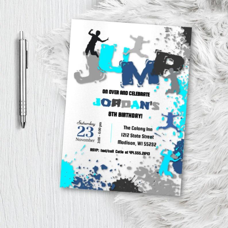 girl jump birthday invitation trampoline park invite boy girl party invite for skyzone jump zone