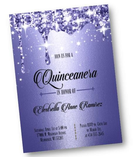 royal blue quinceanera invitation sweet 16 sixteen invite formal and elegant dark blue glitter