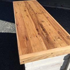 Pine Kitchen Bench Hand Painted Tiles Backsplash Cypress Top Set Sandndesign