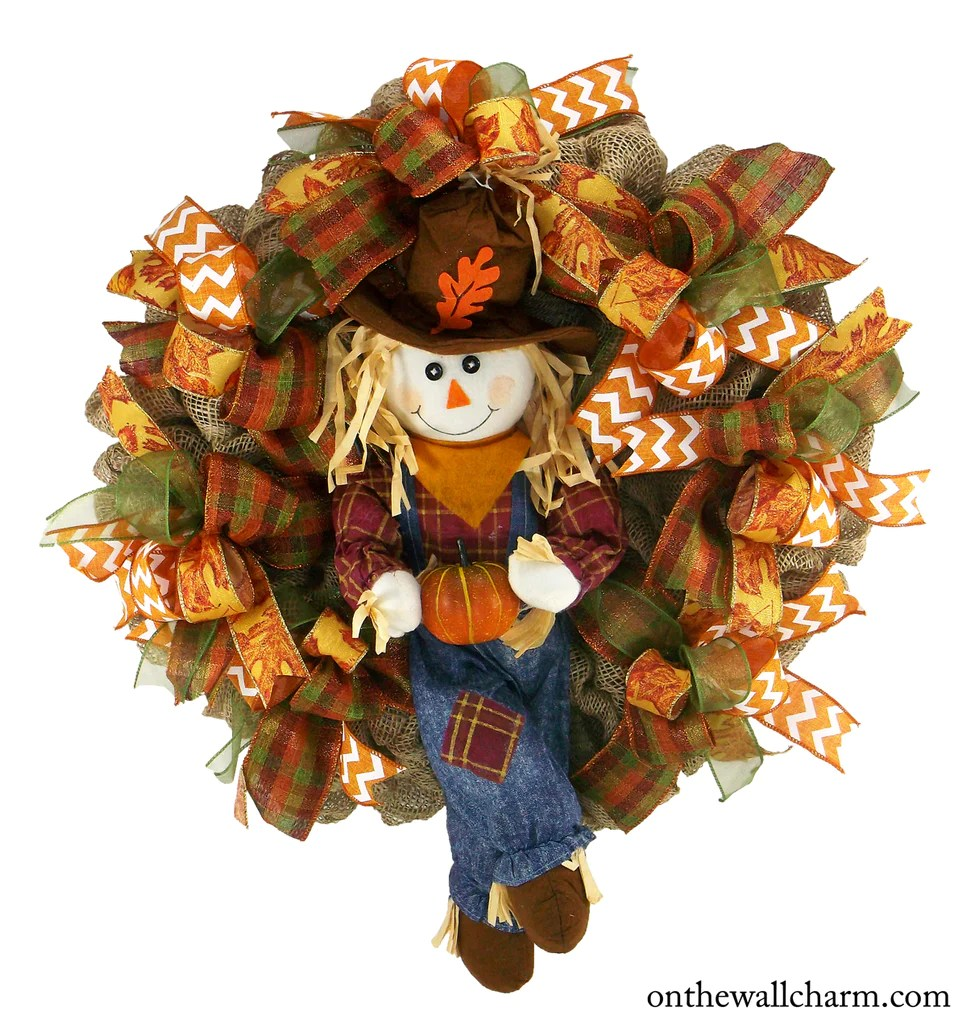 Autumn Scarecrow Boy Wreath On The Wall Charm