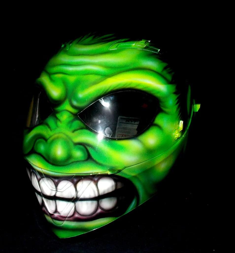 Custom 3d Painted Airbrush Motorcycle Helmet Hulk Monster