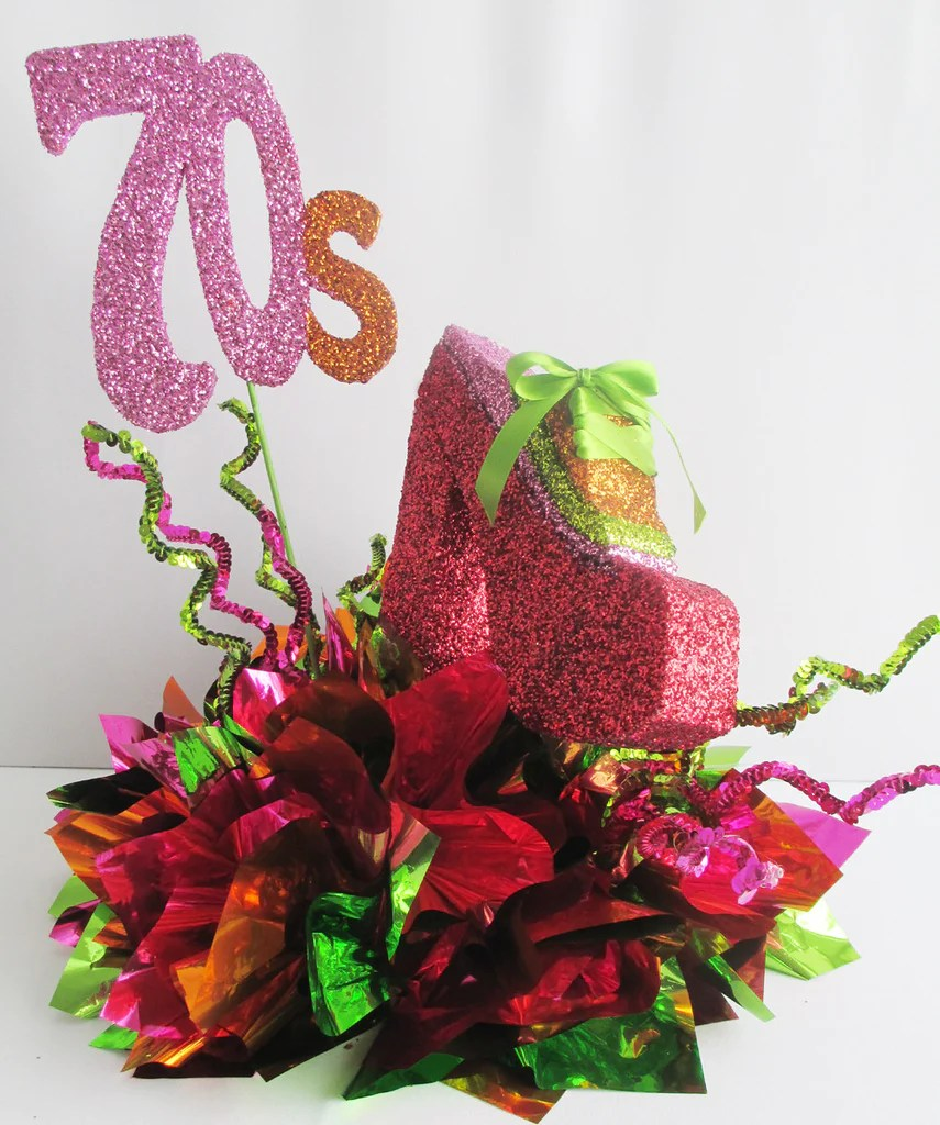 Fun Colorful 70s Themed Party Table Centerpieces