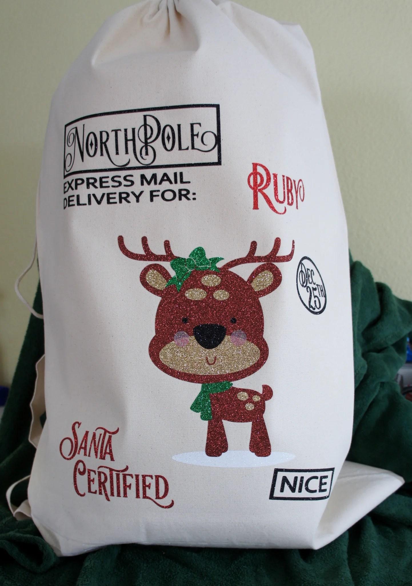 reindeer santa sack christmas