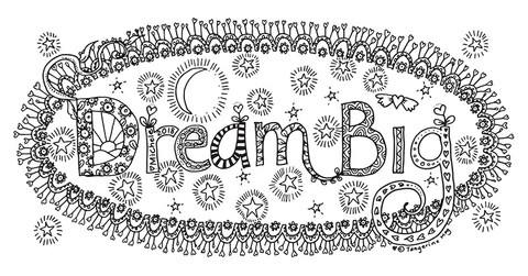 "Decorated Words of the Year, saying ""Dream Big"""