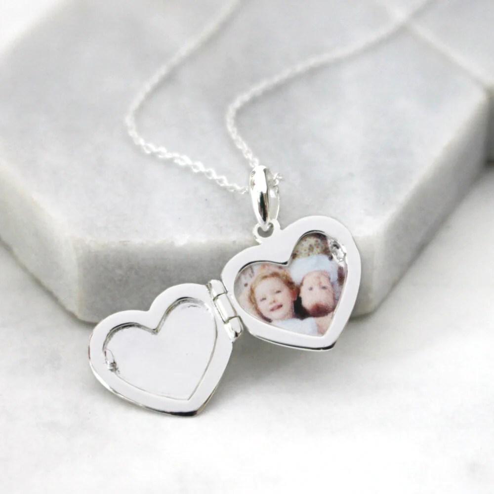 personalised message heart locket