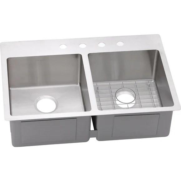 elkay kitchen sinks remodeling honolulu ectsr33229bg crosstown stainless steel equal double bowl dual mount sink
