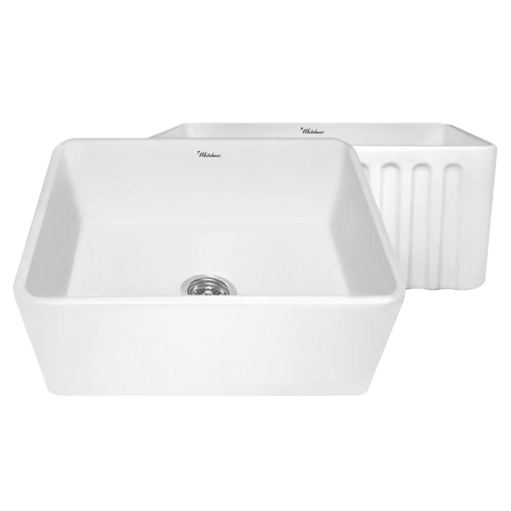 24 kitchen sink victorian cabinets whitehaus whflpln2418 fireclay apron front in white chariot wholesale