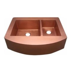 Copper Kitchen Sinks Comfort Floor Mats Oriental Curved Apron Front Off Set Double Basin Sink