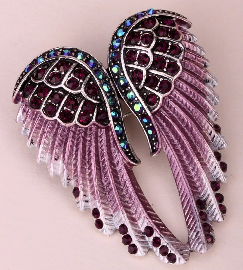 Angel Wings Crystal Brooch Pin 14 Colors Crazy Aunt