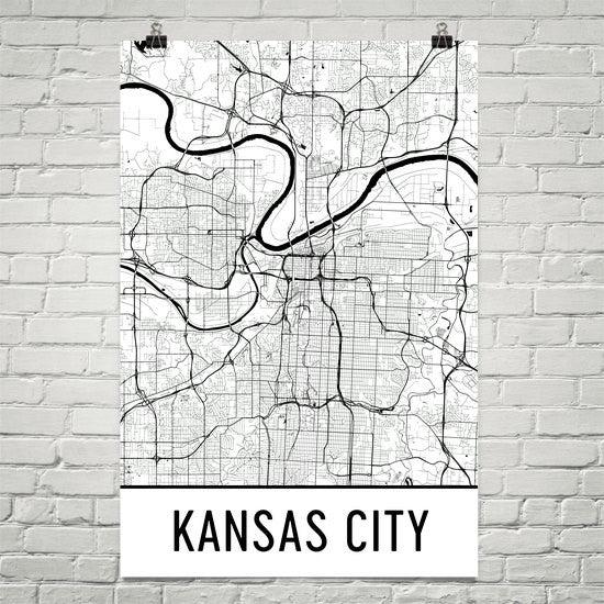 kansas city mo street map poster