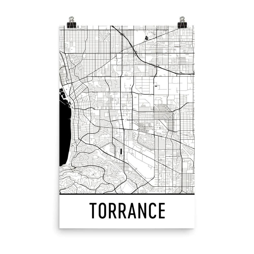 torrance california street map poster