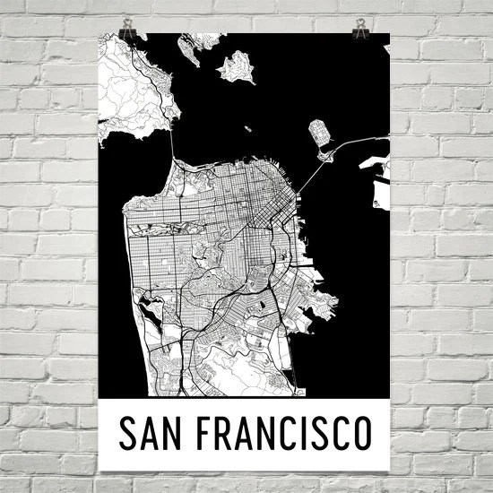 san francisco ca street map poster