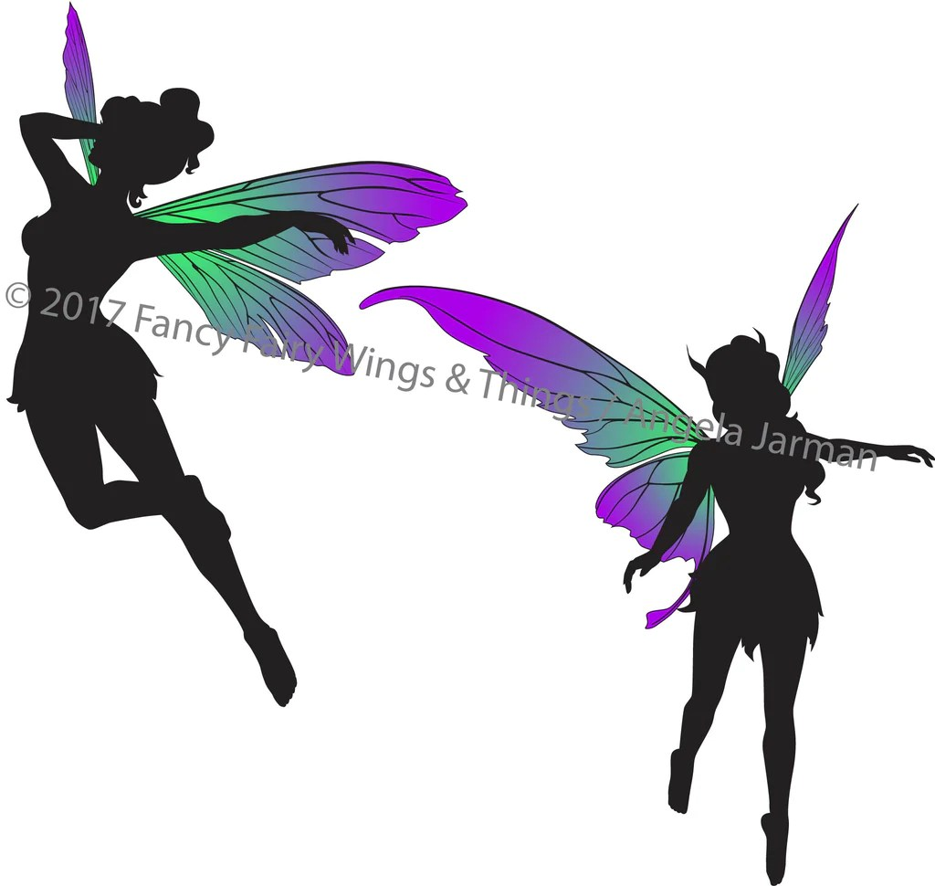 flying fairies silhouettes clip