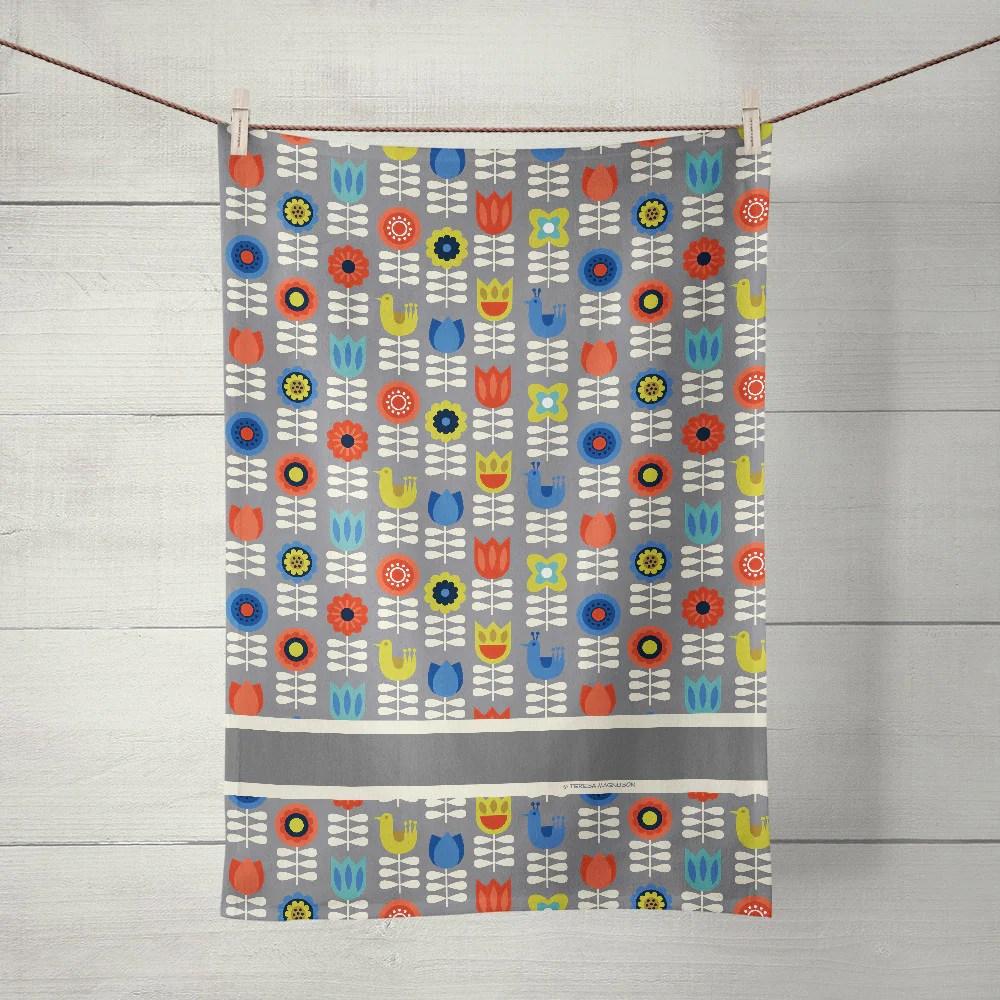 gray kitchen towels hobart equipment nordic tea towel floral linen cotton sunny