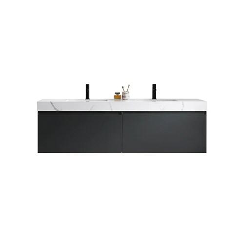 manarello double sink vanity 72 wood gray rectangular contemporary wall mount
