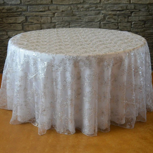 120 Round Sequins floral tablecloth  Designer table
