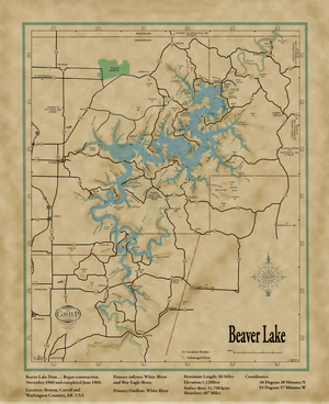 Lake Of The Ozarks Map With Cove Names : ozarks, names, Beaver, Original, Facts, Gallup