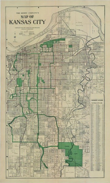 1911 Kansas City Map Berry Map Company Antique Map