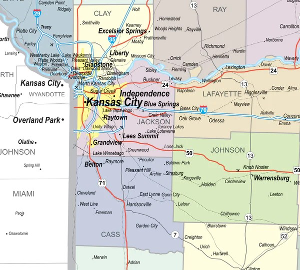 Missouri Laminated Wall Map County and Town map With