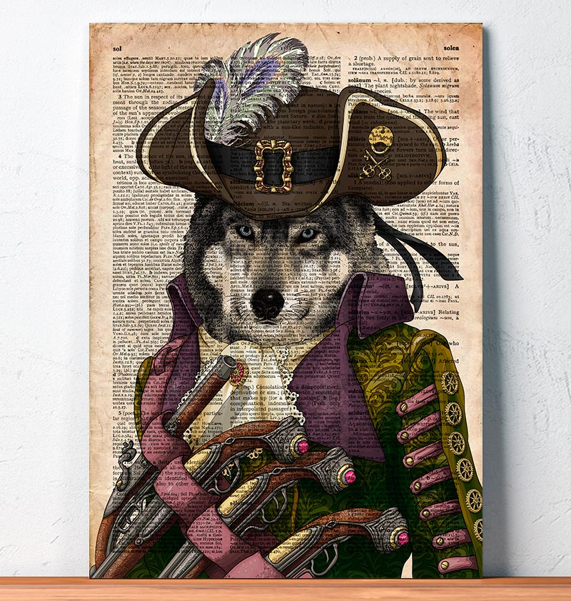 Musketeer Wolf - Steampunk Print Dictionary Art Artofoxo
