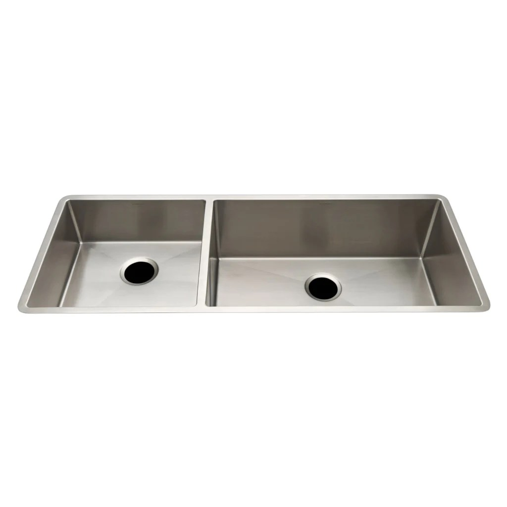 ss kitchen sinks pendant lighting for kerr 46 7 16 x 18 1 4 10 double stainless steel sink with rear drains