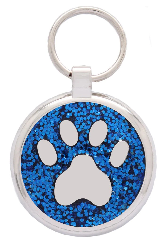 blue glitter pawprint pet
