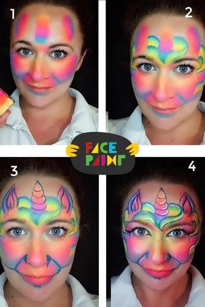 Simple Easy Unicorn Face Paint : simple, unicorn, paint, Unicorn, Paint, Ideas, Facepaint.com