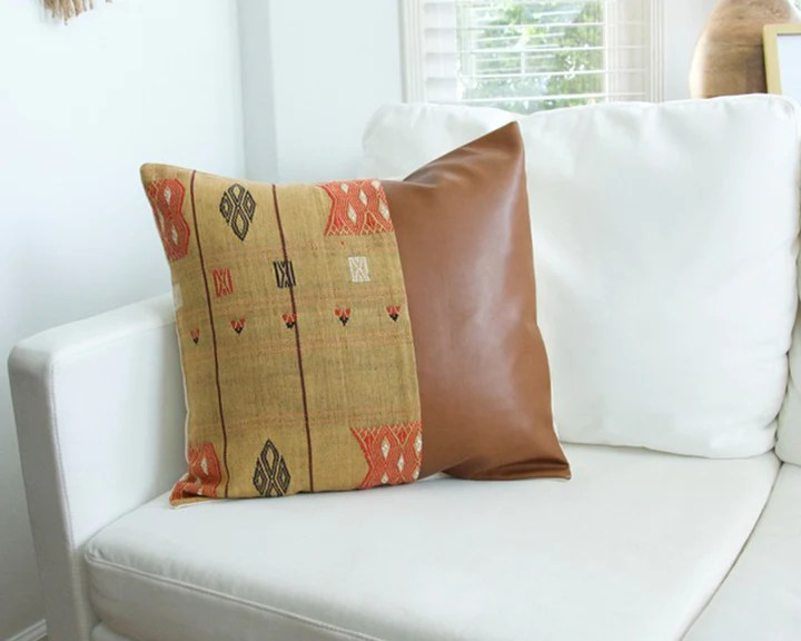 mix match golden naga tribal cloth faux leather pillow 2 20x homies