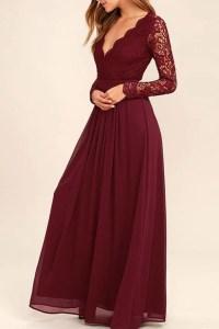 Dark Burgundy Lace Long Sleeves Cheap Bridesmaid Dress ...