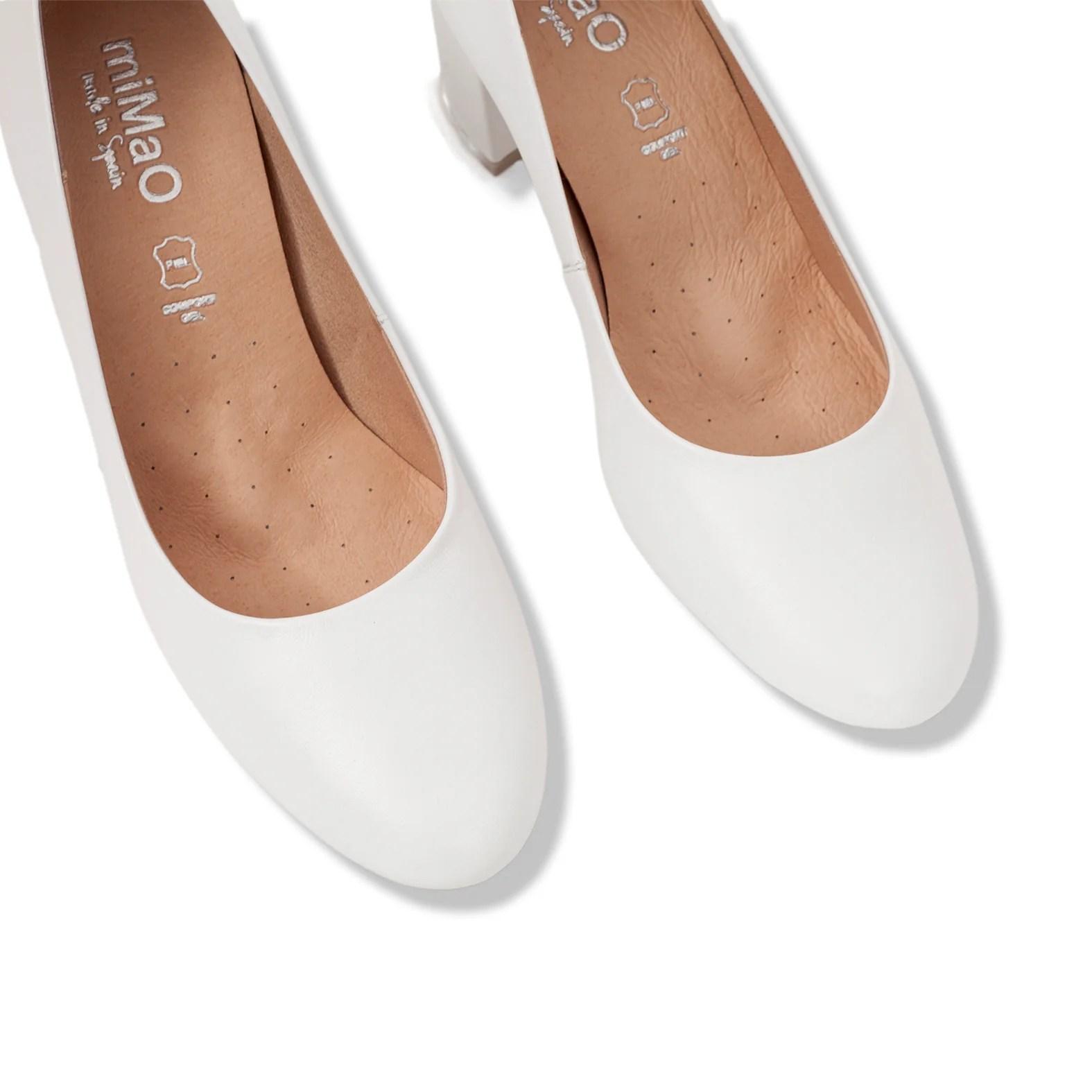 2486a5eb0 Zapato Salón Puntera Redonda Blanco Zapatos De Piel
