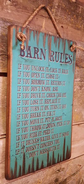 Wall Sign Barn Barn Rules Outwest Shop