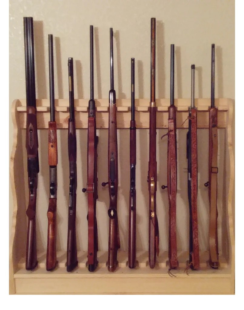 pine wooden vertical gun rack 10 place long gun display