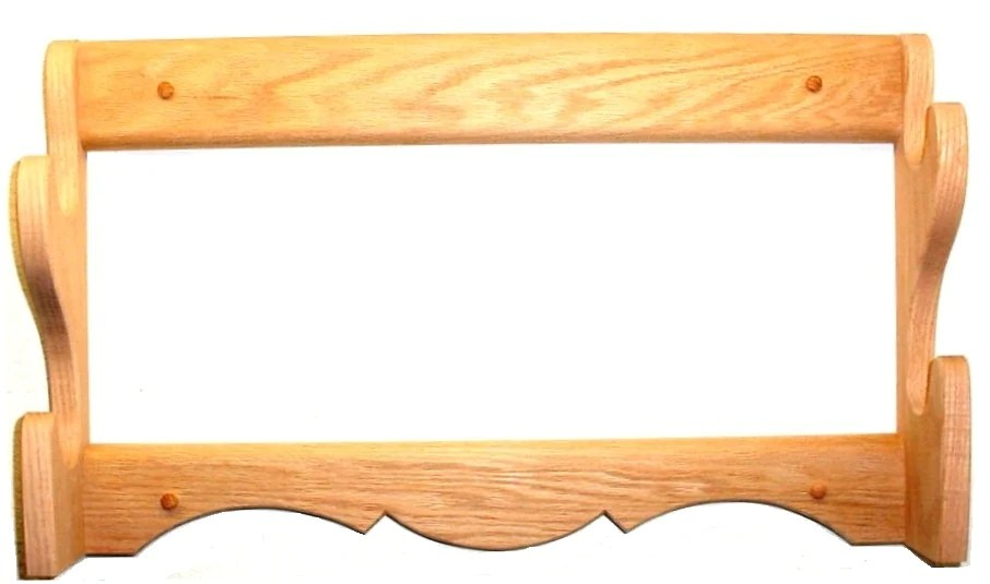 oak wooden gun rack 2 place rifle shotgun wall mount display