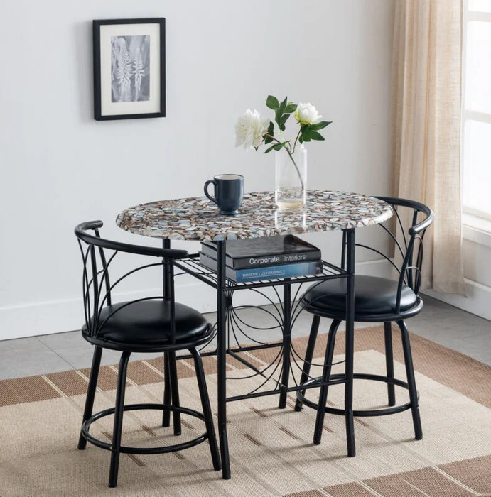 3 piece faux marble pub dining set with