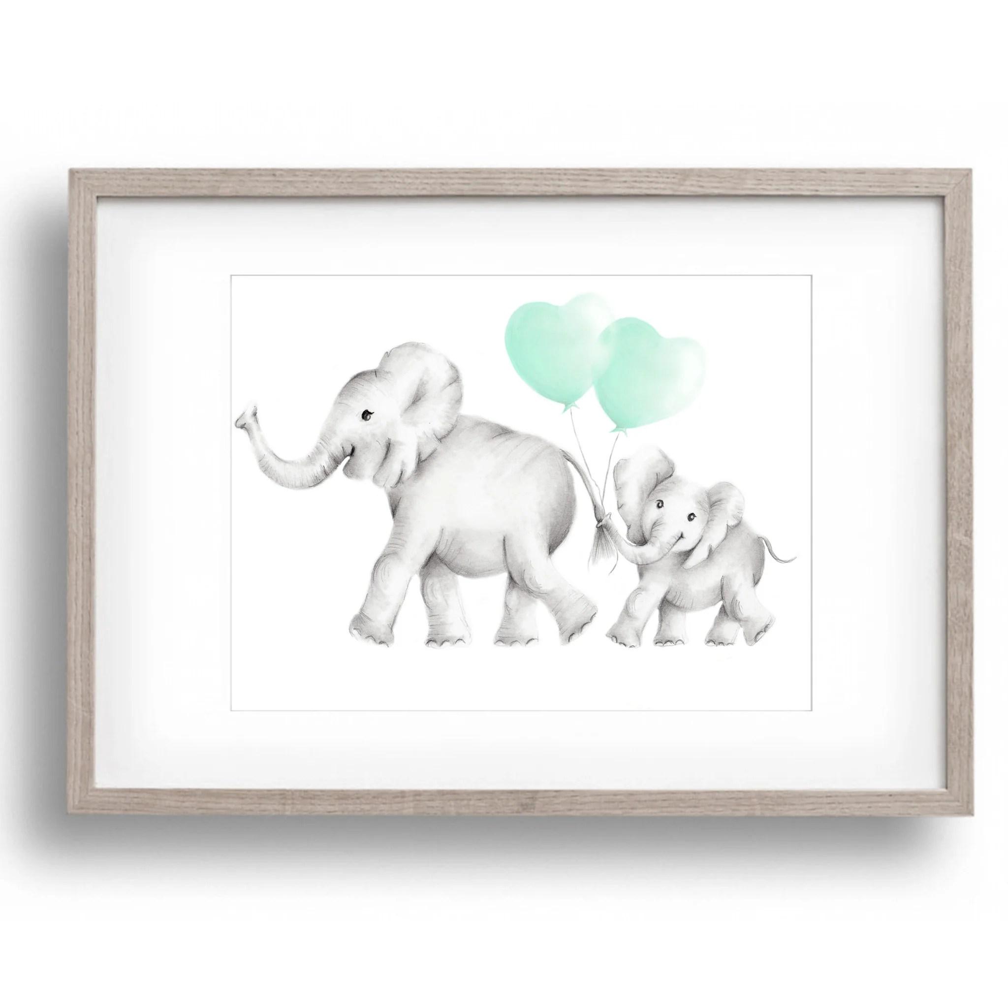 elephant mama baby heart
